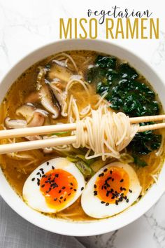 Vegetarian miso ramen is an easy anytime ramen recipe filled with miso garlic ginger shiitake mushrooms kale and a topped with a soft boiled egg Easily adapted to vegan by swapping the egg for tofu this comforting noodle bowl is ready to eat in 15 minutes Vegetarian Recipes, Cooking Recipes, Healthy Recipes, Vegetarian Noodle Soup, Healthy Ramen, Vegan Ramen, Homemade Ramen, Asian Recipes, Asian Noodle Recipes