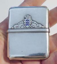 Antique 830 Silver Enamel Match Safe Case Vesta