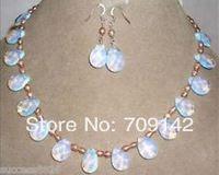 Gros très belle bijoux de mode Pink pearl & collier et boucles d'oreilles opale amende 18 K GP argent femmes bijoux