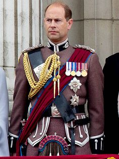 PRINCE EDWARD rounds out the list of royals who currently wear military uniforms to the Trooping the Colour. (Prince Andrew, Duke of York, does not wear a uniform as he served in the Royal Navy and only the Guards Division, which makes up the Foot Guards and London Regiment of the British Army, march in the event.) In 2014, he wore the dress uniform for the London Scottish Regiment, where he serves as royal honorary colonel. In addition to the Order of the Garter sash (hidden benea