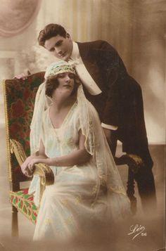 1920s Wedding Postcard