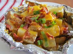 To eat during kitchen remodel: Cheddar Bacon Potato Packets