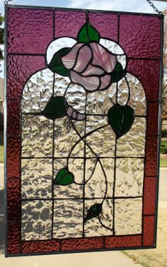 Victorian Rose Stained Glass Window Panel | eBay