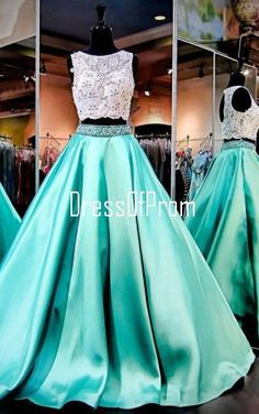 Green Ball Gown Scoop Neck Lace Satin Floor Length Beading Two Piece Long Prom Dress
