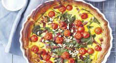 Quiche tomates cerise, épinards, lardons et pignons