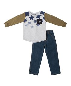 Love this Boys Rock Green & Blue Star Layered Henley & Jeans - Infant, Toddler & Boys by Boys Rock on #zulily! #zulilyfinds
