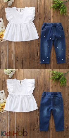 Girls White Ruffles Blouse and Pearls Denim Jeans Two-Piece Outfit Girls White Ruffles Blouse, Pearls Denim Jeans Baby Girl Frocks, Frocks For Girls, Little Girl Outfits, Toddler Girl Dresses, Kids Outfits, Baby Frocks Designs, Kids Frocks Design, Baby Girl Fashion, Fashion Kids