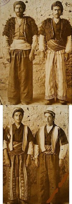 Armenian men in village dress. From the village of Alur (currently Alaköy), in the Edremit district (in the western part of the Van province). Late-Ottoman era, early 20th century.