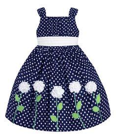 American Princess Navy & White Polka Dot Flower Dress - Infant & Girls | zulily