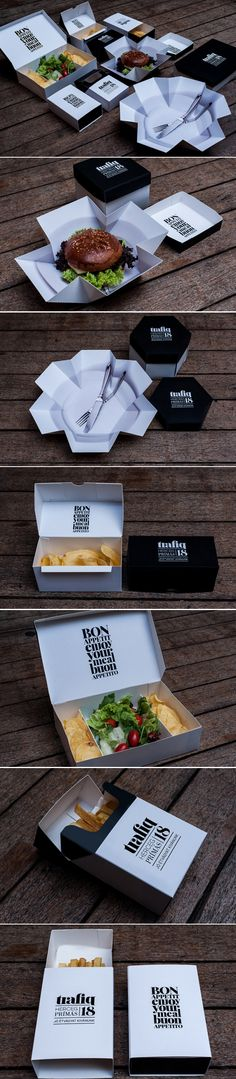 Fast Food packaging that is too cool! Several versions of the pin but this - Delivery Food - Ideas of Delivery Food - LOVE! Fast Food packaging that is too cool! Several versions of the pin but this is the most popular PD Burger Packaging, Cool Packaging, Food Packaging Design, Brand Packaging, Branding Design, Packaging Boxes, Takeaway Packaging, Innovative Packaging, Product Design