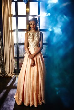 The Summer Bride by Anita Dongre - A vintage peice raw silk gown in blush pink   new collection   thedelhibride Indian weddings blog