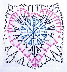 Crochet Granny Heart motif or square - Chart