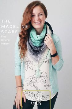 Crochet Triangle Scarf Pattern Free! This free scarf pattern is made with just 1 skein of Mandala!