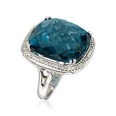 Ross-Simons - 20.00 Carat Square London Blue Topaz and .32 ct. t.w. Diamond Ring in 14kt White Gold - #779999