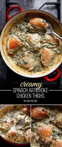 Creamy Spinach Artichoke Chicken Thighs