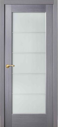 Door grey color in the style of techno with five frosted glass separated by aluminum partitions - How to choose Interior Doors Etched Glass Door, Acid Etched Glass, Frosted Glass Door, Glass Etching, Glass Doors, Grey Interior Doors, Grey Doors, Bathroom Doors, Bathrooms