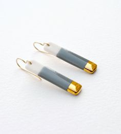 Gold-dipped Porcelain Bar Earrings in Teal, Gray, Blush Pink, or Royal Blue    These earrings began as bits of wet porcelain clay. They were