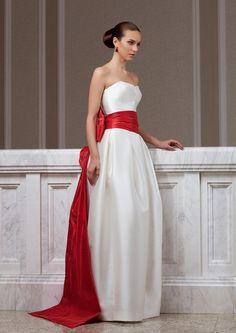 Fashion wedding dress made of mikado with red taffeta tail. via Etsy. Red Wedding Dresses, Wedding Dress Styles, Wedding Gowns, Wedding Venues, Bridal Fashion Week, Yes To The Dress, Stylish Dresses, Bridal Style, Dress Making