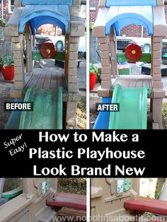 How to Make a Plastic Playhouse Look Brand New – Super Easy way to clean and works for all outdoor toys. Great for those and Little Tikes playhouses that have been sitting in the yard for years! Little Tikes Playhouse, Toddler Playhouse, Plastic Playhouse, Kids Indoor Playhouse, Outside Playhouse, Backyard Playhouse, Build A Playhouse, Backyard Playground, Playhouse Kits