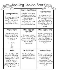 Free Spelling Activities With Choice Board (grade 3 art choice boards) Spelling Word Activities, Spelling Games, Spelling Practice, Spelling And Grammar, Spelling Words, Spelling Ideas, Spelling Menu, Spelling Homework, Listening Activities