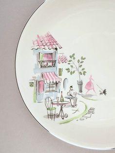 Alfred Meakin Montmartre plate, 1950s England vintage retro fifties kitsch Paris