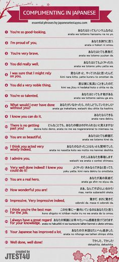 Infographic: how to compliment someone in Japanese. japanesetest4you....