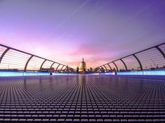 Evening over Millennium Bridge London - Architecture and Urban Living - Modern and Historical Buildings - City Planning - Travel Photography Destinations - Amazing Beautiful Places Millennium Bridge London, Cities, Water Time, Desktop Background Images, Architecture Images, London Architecture, Laptop Wallpaper, Web Design Company, Photo Tree