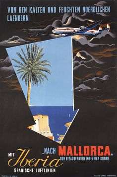 Original 1950s IBERIA Airlines Travel Poster MALLO - by PosterConnection Inc.