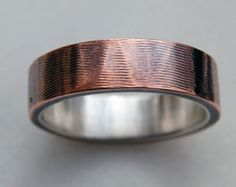 CORRUGATION COPPER and SILVER Ring - 6mm Copper and Silver Ring - Wide Ring Band - Plain copper Band - Wedding Band - For Men & Women