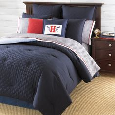 Tommy Hilfiger Hilfiger Prep Midnight Bedding.   Love the navy blue...just not so much with the red...maybe with grey and orange!