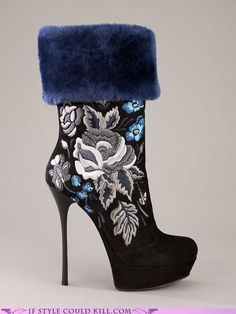 These are almost so ugly they are cute.  I can't decide.  Maybe it should be fur OR the embroidery, but not both.