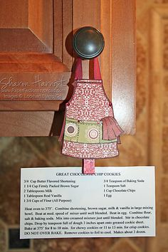 Cute recipe card holder that hangs from the cupboard... This is a cute gift idea!!