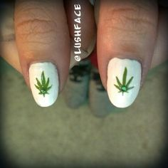 420 marijuana weed leaf nail art