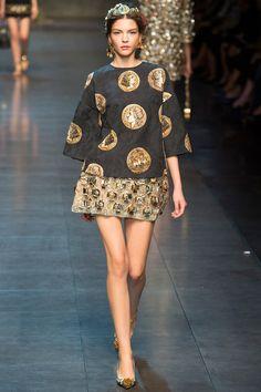 Dolce & Gabbana Spring 2014 Ready-to-Wear Collection via Designers Domenico Dolce & Stefan Gabbana; modeled by Kate Bogucharskaia