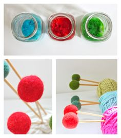 helana and ali: DIY Knitting Needle Toppers dyed with Kool-Aid