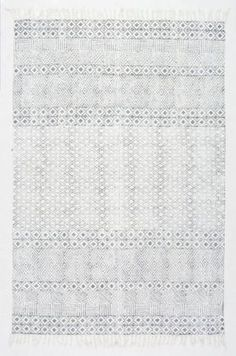 Chembra Block Printed Cotton Flatweave Varied Bands Rug