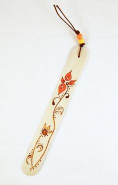 Bookmark  Wood  Natural  Pyrography   Flower A by SuniMam on Etsy, €3,00
