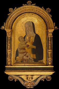 Madonna and Child Benvenuto di Giovanni  (Italian, Siena 1436–after 1518 Siena) Date: ca. 1470 Medium: Tempera on wood, gold ground Dimensions: Overall 27 3/4 x 18 1/8 in. (70.5 x 46 cm); painted surface 24 1/4 x 14 3/4 in. (61.6 x 37.5 cm)