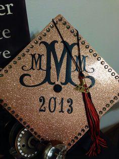 graduation cap #glitter #diamonds #monogram #graduationcapidea Graduation Cap Designs, Graduation 2016, Graduation Photos, Graduation Cap Decoration, Nursing Graduation, Graduation Gifts, Senior 2015, Senior Year, Grad Cap