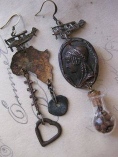 Gypsy Moth. Rustic Tribal Victorian Asymmetrical Assemblage Mixed Media Earrings with Grains of Paradise.