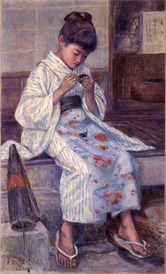 Knitting girl  by Ikunosuke Shirataki, 編物をする少女 白滝幾之助