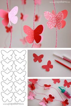 Guirnalda Mariposas de Papel - My Decor - Home Decor Ideas SchoolParty Arts and Science Activities Sharing Site Easy spring crafts: 20 ideas for good weather Make red garlands with paper butterflies, beautiful decoration for the nursery Source by michaelh Kids Crafts, Diy And Crafts, Arts And Crafts, How To Make Butterfly, Butterfly Crafts, Diy Butterfly Decorations, Butterfly Canvas, Butterfly Baby Shower, Origami Decoration
