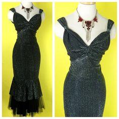 Vintage 1950s Silver Threaded Chromspun Lurex Mermaid por hipsmcgee
