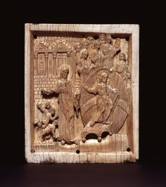 Panel; ivory; the Descent of Our Lord into Hell (Anastasis); to the right in glory, Christ with nimbus, supported upon a rainbow with feet resting on a carved footstool; right hand extended in a gesture of benediction, in his left a jewelled book of the gospel; behind him, eight angels and to his left St John the Baptist in gesture of benediction to three small figures emerging from a rectangular tomb; a building behind Middle Byzantine term details Date10thC