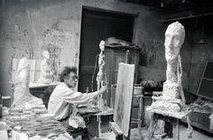 Alberto Giacometti in his Paris studio, 1954. Photo by Ernst Scheidegger.