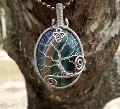 Tree of Life Pendant covering Beautiful Banded Agate by TheSleepyFirefly