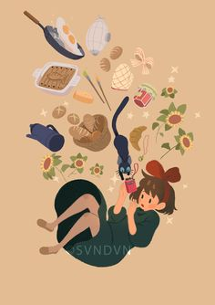 """svndvn: """"I made those for the Japan Expo Kiki and Ponyo are clearly the cutest chubby kawaii characters on Earth. If anyone is interested in prints of those, please let me know ! More news. Totoro, Studio Ghibli Art, Studio Ghibli Movies, Hayao Miyazaki, Kiki Delivery, Kiki's Delivery Service, Howls Moving Castle, Anime Kawaii, Leprechaun"""