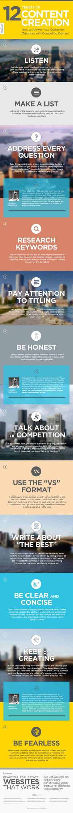 12 Tenets Of Content Creation - How To Answer Your Customers' Questions With Compelling Content #infographics