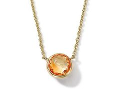 Faceted citrine gemstone bezel set in 18 karat gold by Ippolita