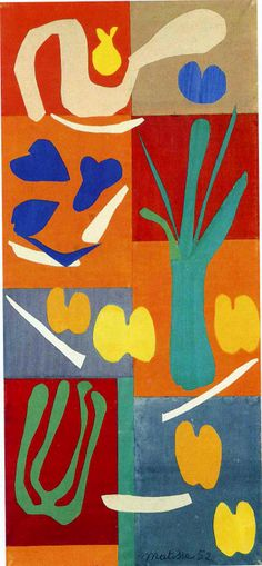 Henri Matisse- colourful piece of different kind of shapes and different sizes.